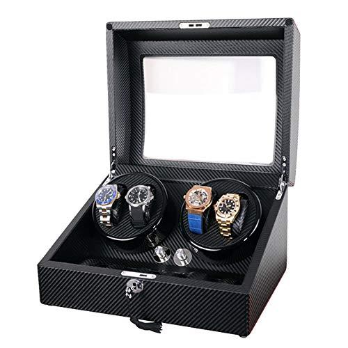 Oksmsa Lujo Bobinadora para Relojes Automáticos 4+6 De Madera Caja De Reloj con Motor Silencioso Y 4 Modos De Roating, Almohada De Reloj De PU (Color : C)
