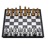 Clásico Colección de Juegos de ajedrez Tablero de Juego de ajedrez de Metal Plegable de Viaje magnético niños o Adultos Juego del Juguete (Color : A)