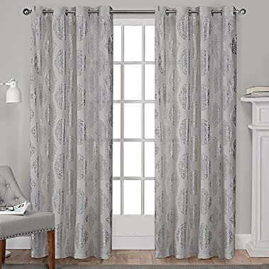Exclusive Home Augustus Metallic Light Filtering Window Curtain Panel Pair with Grommet Top, 54x84, Silver, 2 Piece