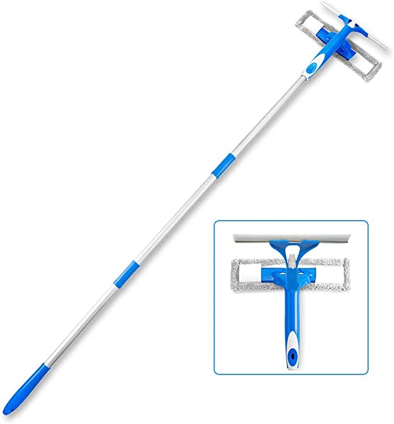 Ulihome Professional Window Squeegee With Scrubber 3 In 1 Squeegee Window Cleaner With Spray Head 58 Extension Pole All Purpose Outdoor Glass Cleaning Kits For Shower Car And High Windows