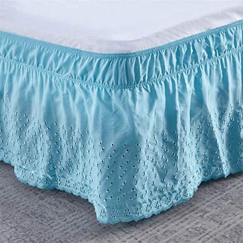 HNTKSM Bed Skirt Bed Base Cover Solid Color Home Hotel Bed Rock Wrap Around Elastic Band Bed Rock Bettdecke ohne Oberflächen Stretch-Bett-Rock-Bettwäsche-Dekor (Color : Blue, Size : 180x200x38cm)