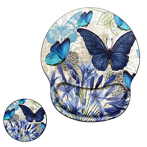 Ergonomic Mouse Pad with Wrist Support Gel, Computer Gaming Mousepad Cute Butterfly Wrist Rest Mouse Pads for Laptop Office Work Women Men Kids