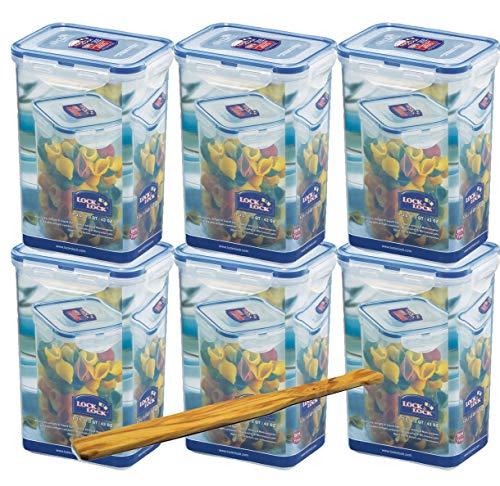 Lock&Lock Frischhalteboxen Set 6 -teilig HPL809 (6 Stück) Volumen je 1,3 L und SeleXions Multifunktion Olivenholz-Spachtel
