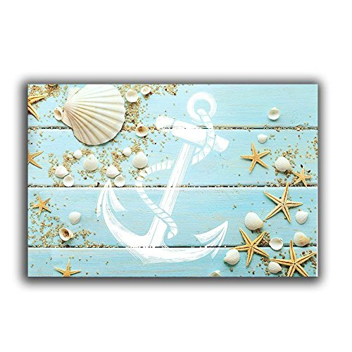 Funy Decor Beach-Themed Nautical Doormats - Seashell, Starfish, Anchor Floor Mat Rug Indoor/Outdoor/Front Door/Bathroom Mats Rubber Non Slip 20 x 31.5 inch