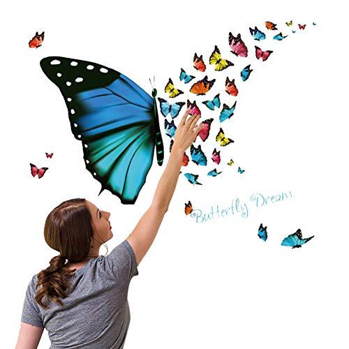 Vioyo muurstickers, romantisch, voor kinderkamer met vlinders, harten, muurschildering, bank, decoratie voor muur