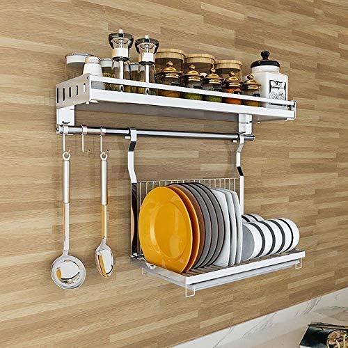 Chenbz Estante de la Cocina Estante montado en la Pared de la Cocina de múltiples Funciones de Almacenamiento, Plegable Escurridor, Especias Botella Organización, Súper portantes