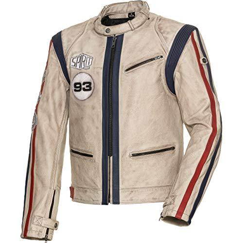 Spirit Motors Motorradjacke mit Protektoren Motorrad Jacke Klassik Lederjacke 4.0 weiß/rot/blau L, Herren, Chopper/Cruiser, Ganzjährig