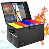 File Box, Fireproof File Box with Lock, Waterproof, Anti-Static, Multi-Layer/ Pockets, Collapsible File Organizer for Hanging File Folders, Important Documents (2021 Black)