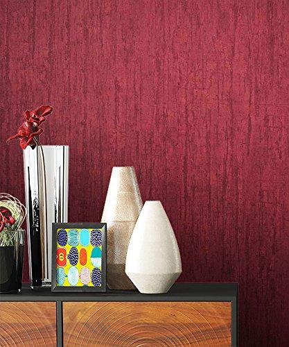 NEWROOM Tapete Rot Vliestapete Uni Uni schöne moderne und edle Design Optik , inklusive Tapezier Ratgeber