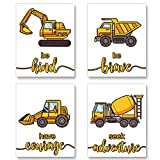 Construction Trucks Inspirational Quote Art Print Transport Vehicle Motivational Phrases Wall Art Poster - Nursery or Kids Room Decoration Unframed, Set of 4 Posters (Unframed,8'X10')