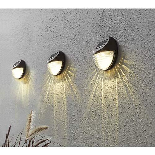 Kamaca 3er Set LED SOLAR Wandleuchte wetterfeste Solar Außenleuchte Sicherheitslicht zur Vermeidung von Stürzen je 2 warm Weisse LED Sorgen für helle Ausleuchtung (LED Solar Wandleuchte 3er Set)