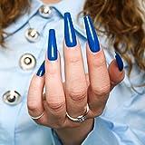 ALLKEM Electric Blue Extra Long Coffin Press on False Nail - Tips 20 pcs...