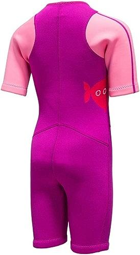 QSFDM Costume de plongée 2MM néoprène Enfants Maillot de Bain Combinaison à Manches Courtes Garçon Filles crème Solaire Natation plongée en apnée Surf plongée sous-Marine, Plus la Taille, Rose, XXXXL
