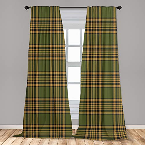 """Lunarable Plaid Window Curtains, Tartan Pattern in Autumn Tones Old Fashioned Design Country Illustration, Lightweight Decorative Panels Set of 2 with Rod Pocket, 56"""" x 84"""", Olive Green"""