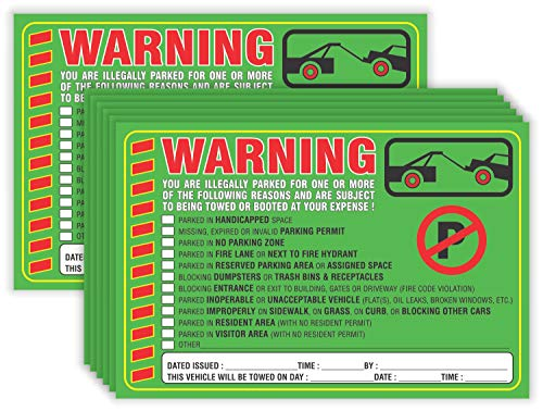 """Parking Violation Stickers Notice (Pack of 50) Tow Warning You are Illegally Parked Multi Reasons - Large Size 6"""" X 9"""" – Green"""