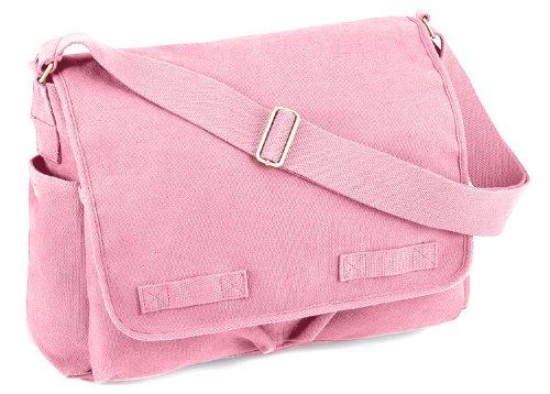 Rothco Vintage Washed Canvas Messenger Bag, Pink