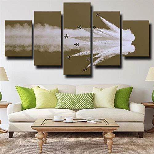 IJNHY Cuadro Jet Fighter De Aviones Militares 5 Piezas De Arte De Pared XXL Impresiones En Lienzo 5 Piezas Cuadro Moderno para El Arte De La Pared del Hogar 150×80Cm HD Impreso Mural Enmarcado