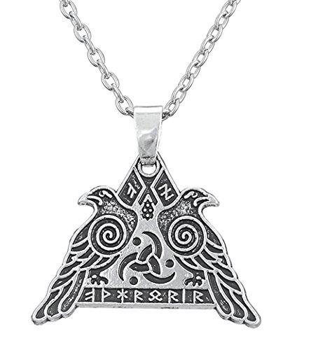 My Shape - Joyería vikinga, collar Wicca de guerrero, con símbolos de cuervo de Odín, Huginn y Muninn