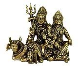 StonKraft Ideal Gift - Brass Shiv Shiva Parivar Murti Idol Statue Family Sculpture (4.5') Brass Decorative Worship Idol