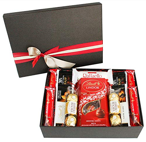 Luxury Chocolate Hamper Selection Xmas Variety Christmas Gift Box Present for All Occassions - Lindt Ferrero Rocher Set 1