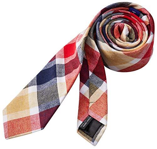 Hedgerow® Krawatte aus 100% Baumwolle, Baumwoll-Schlips, Slim, Rot Beige Schwarz kariert