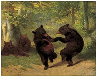 Dancing Bears by William H. Beard Fine Art Print Poster, Overall Size: 15x12, Image Size: 14x11