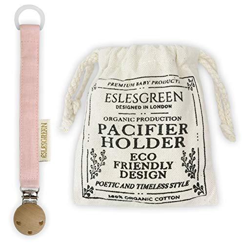 ESLESGREEN Chupetero en algodón y madera con bolsa de regalo - Regalo recién nacido (PINK)