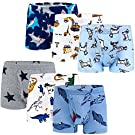 KEREDA Boys Underwear Cotton Boxer Brief Shorts Dinosaur Truck Underpants with Elasticated Waist for Kids Ages 2-9 Years (Pack of 6)