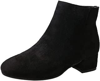 Botas y Botines para Mujer Otoño Invierno 2018 PAOLIAN Botines de Terciopelo Fashion Militares Casual Botas Biker Zapatos Tacón Ancho Mediano Señora cuña Moda Calzado de Dama Tallas Grandes