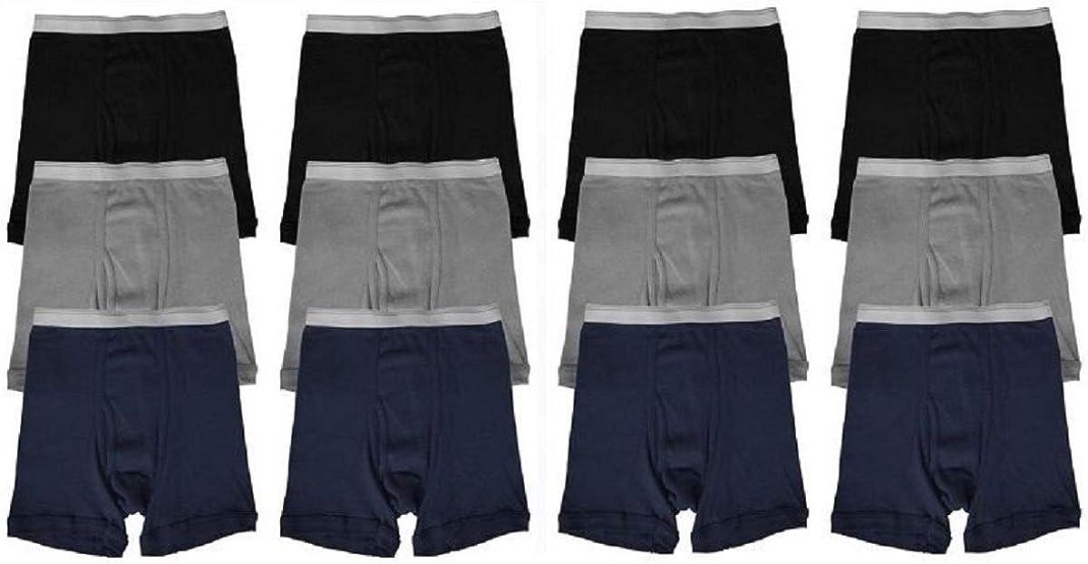 elpishop New! Super Soft Cotton Boxer Briefs Solid Colors Lot Underwear S~XL 3 6 12 Boys Qty&Color 12 Color(Black,Navy,Grey)