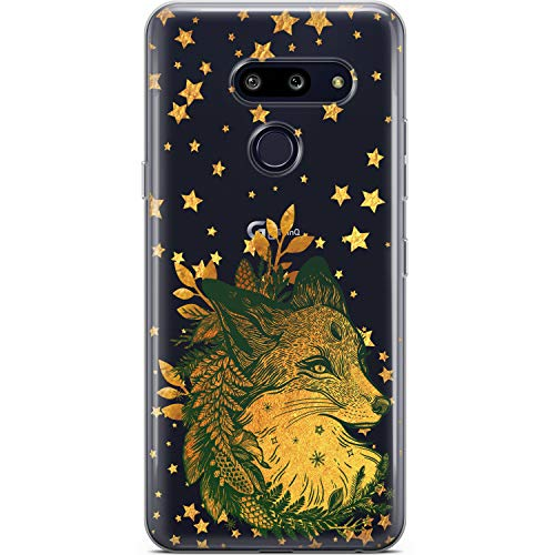 Mertak Clear Phone Case Compatible with LG G8 ThinQ Velvet V60 V50 V40 V35 Plus G7 Christmas Silicone Lightweight Design Flexible Boho Gold Stars Protective TPU Slim Fox Animal Cover Fern