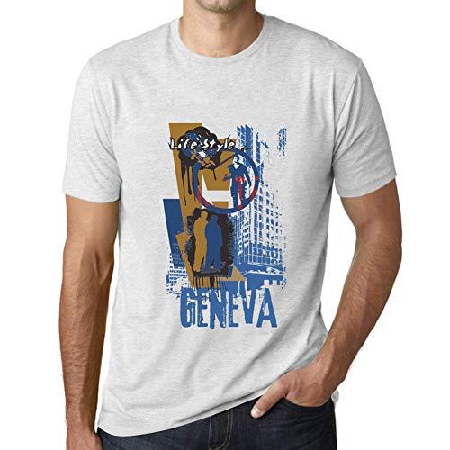 One in the City Hombre Camiseta Vintage T-Shirt Gráfico Geneva Lifestyle Blanco Moteado