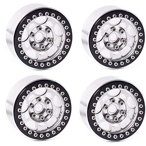 "DJX 4PCS 1.9"" Beadlock Wheel Rims for 1/10 RC Crawler Traxxas TRX-4 Axial SCX10 CC01 RC4WD Wheel Hub(Silver+Black)"
