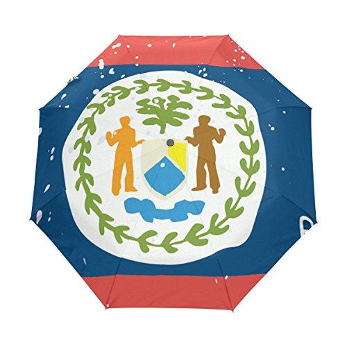 Parasol con Bandera de Belice Envejecido UPF 50+, Resistente al Agua, Resistente al Viento, 3 Paraguas Plegable con Cierre automático
