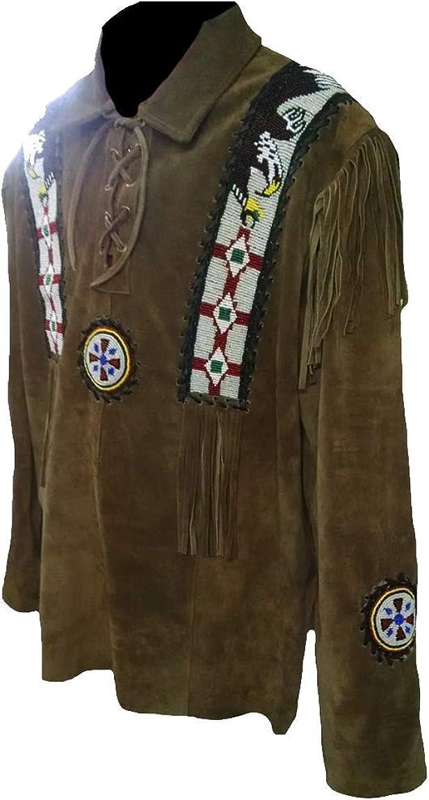 Classyak Men's Western Indian Suede Leather Fringed & Beaded War Shirt