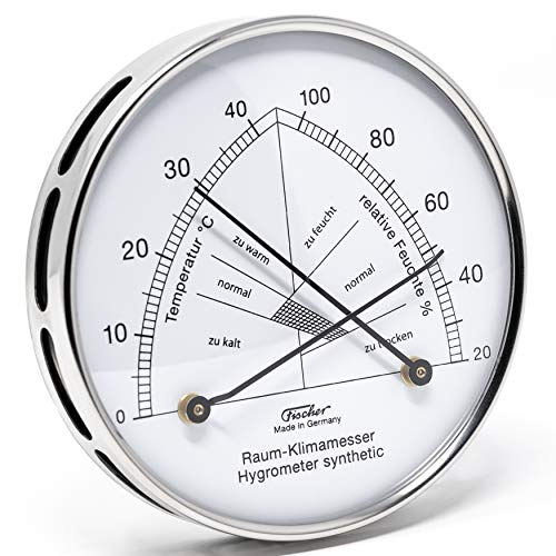 Fischer 142.01EST - Raum-Klimamesser - 100mm Synthetic-Hygrometer und Bimetall-Thermometer aus Edelstahl Made in Germany