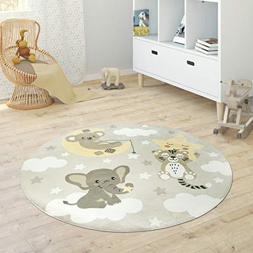 Paco Home Alfombra Infantil Redonda Chicas Chicos Estrellas Luna Elefante Arco Iris, tamaño:Ø 150 cm Redon, Color:Beisbolario
