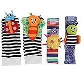 Zwindy Calcetines para bebés, Juguetes, Formas Bonitas, Colores Brillantes, Correa de muñeca para bebés saludables, sonajero pequeño portátil para bebés Que juegan en casa(A Set of Wristband Socks)