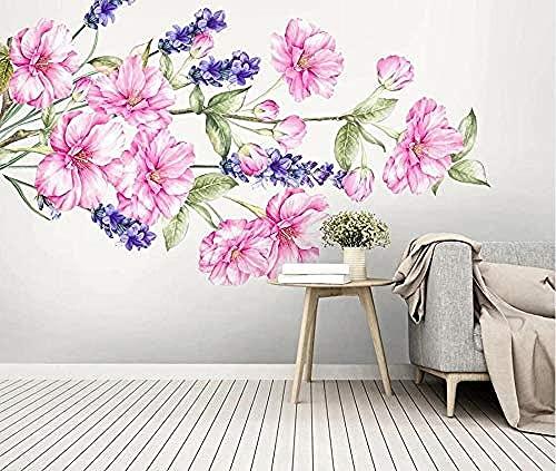 Papel pintado pintado a mano de la flor rosa púrpura de la acuarela Pared Pintado Papel tapiz 3D Decoración dormitorio Fotomural de estar sala sofá mural-430cm×300cm