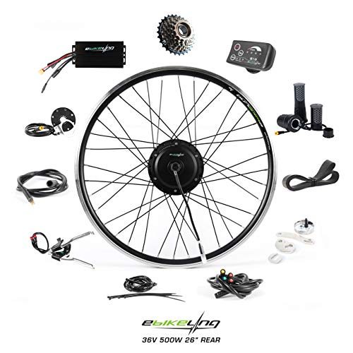 """EBIKELING 36V 500W 26"""" Geared Waterproof Electric Bike Kit - Ebike Conversion Kit - Electric Bike Conversion Kit (Rear/LED/Twist)"""