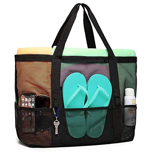 Mesh Beach Bag, F-color Oversize Beach Tote 9 Pockets Beach Toy Bag, Black