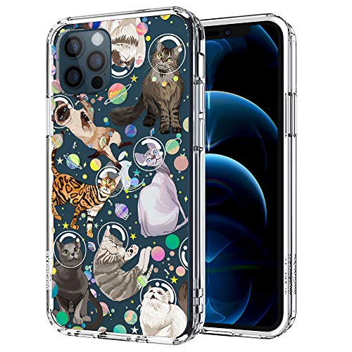 MOSNOVO Cute Space Cat Pattern Designed for iPhone 12 Pro Max Case 6.7 Inch,Clear Case with Design,TPU Bumper with Protective Hard Case Cover