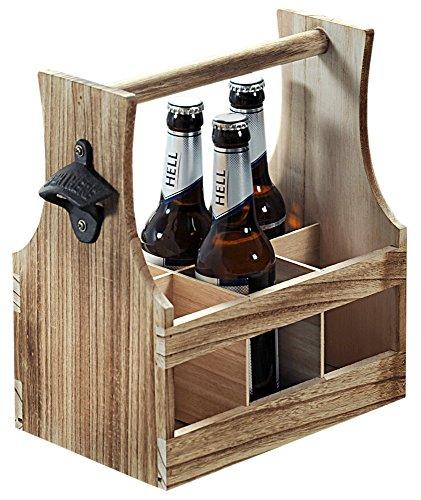 FSC® Houten Bierkrat met Bierflessen opener | Bier Flessenhouder voor 6 flessen met opener | Bier butler | Bierkrat Flessen Drager | Bier Krat | Afm. 25 x 16,8 x 32 Cm.