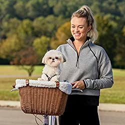 bicycle pet carrier basket with sun shield, made with weather-resistant wicker like resin