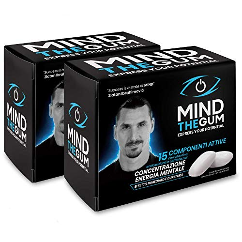 MIND THE GUM - Supplement for Concentration and Mental Energy - Chewing Gum Based on Caffeine, Vitamins, Minerals and Plant extracts - Pack of 72 Gums - Mint Flavour