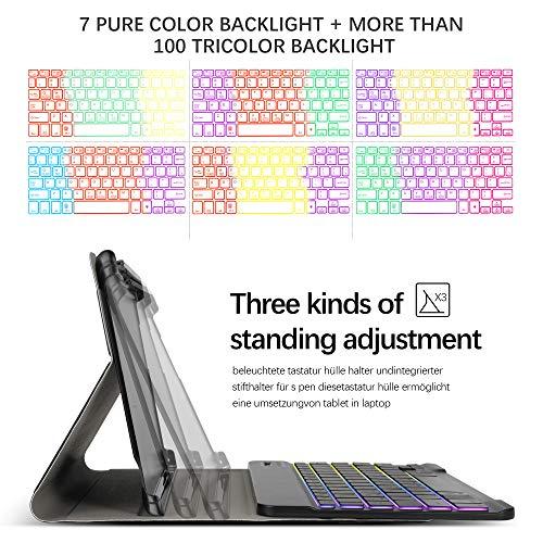 Hintergrundbeleuchtete Tastatur Hülle für Huawei MediaPad M5 Lite 10, [QWERTZ Deutsches], Ständer Schutzhülle mit magnetisch abnehmbar Tastatur für Huawei MediaPad M5 Lite 10.1 Zoll 2018, Oil - 4