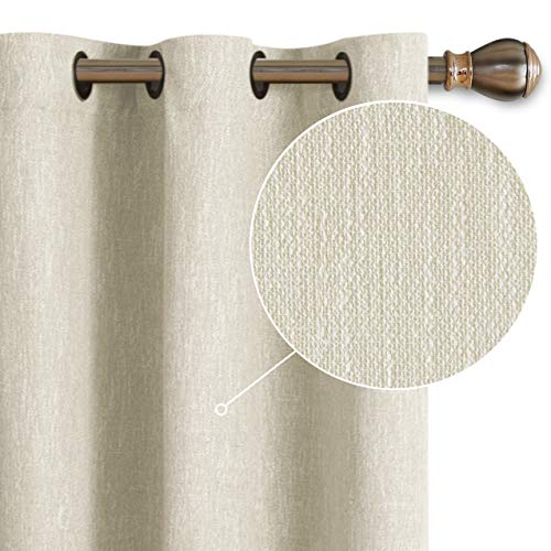 LORDTEX Burlap Linen Look Textured Blackout Curtains for Bedroom with Thermal Insulated Liner - Heavy Thick Grommet Window Drapes for Living Room, 40 x 63 Inch, Ivory, Set of 2 Panels