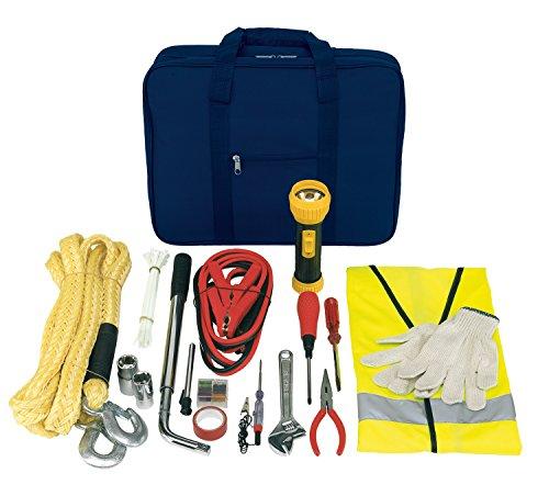Unbekannt Autowerkzeug mit Werkzeugtasche und Pannenwerkzeug Sicherheitsweste, 2 Handschuhen, Abschleppseil, Starthilfekabel, Zange vieles mehr 42 teilig