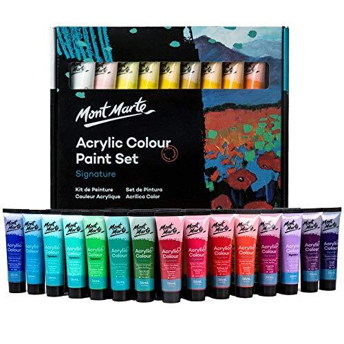 Mont Marte zestaw farb akrylowych premium – 36 sztuk, tubki 36 ml – idealne do malowania akrylowego – wspaniałe kolory odporne na światło o dużej przezroczystości – idealne dla początkujących, profesjonalistów i artystów
