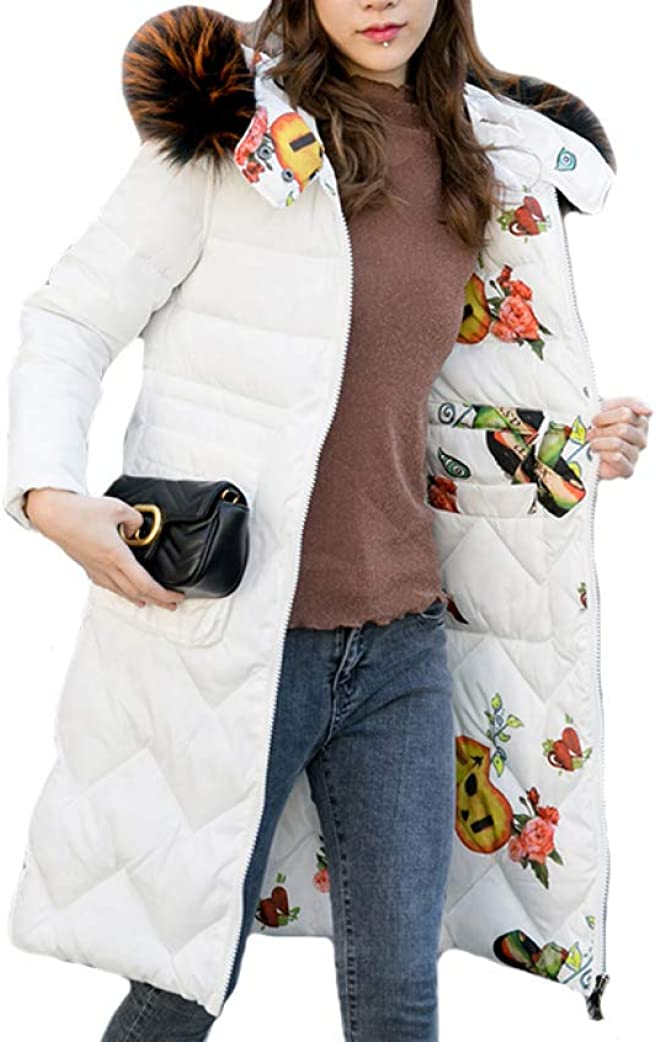 Double 2 Sides Women Winter Warm Jacket Hooded with Fur Collar Slim Padded Down Coat Long Ladies Coat Parka